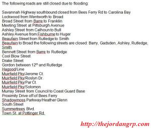 charleston road closures